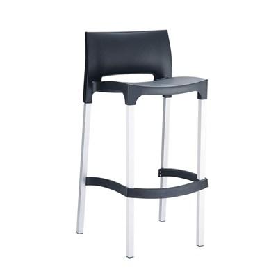 Taburete de Diseño GIOVANNI, apilable, en aluminio anodizado, ámplio asiento en polipropileno negro