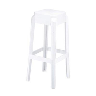 Taburete de Bar o Diseño FORTUNA, estructura en policarbonato, muy resistente, color blanco brillo