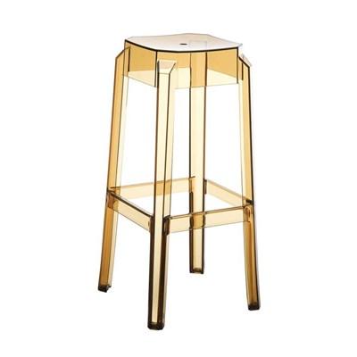 Taburete de Bar o Diseño FORTUNA, estructura en policarbonato, muy resistente, color ambar transparente
