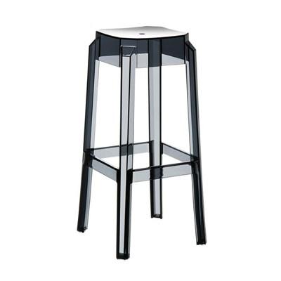 Taburete de Bar o Diseño FORTUNA, estructura en policarbonato, muy resistente, color negro transparente