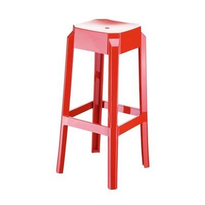 Taburete de Bar o Diseño FORTUNA, estructura en policarbonato, muy resistente, color rojo transparente