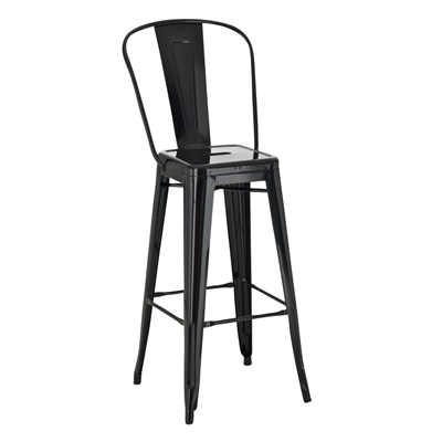 Taburete para Bar o Cocina ADRI, muy resistente, modelo apilable, gran respaldo, en metal color negro