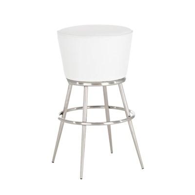 Taburete de Bar CARLOTA 80cm, en acero inoxidable, gran asiento acolchado, en piel color blanco