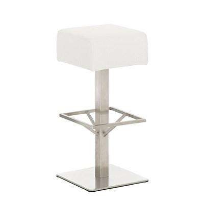 Taburete de Bar MARK 76 TELA, en acero inoxidable, altura asiento 76cm, tapizado en tejido blanco