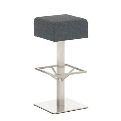 Taburete de Bar MARK 76 TELA, en acero inoxidable, altura asiento 76cm, tapizado en tejido gris oscuro