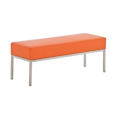 Banco de 3 plazas MARA, En Piel naranja y Estructura de Acero Inoxidable, 120x 40 cm