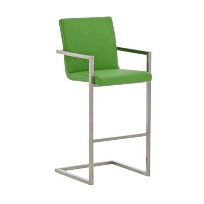Taburete de Diseño ISAIA, En Piel Verde y Estructura de Acero Inoxidable, Apoyabrazos Integrados