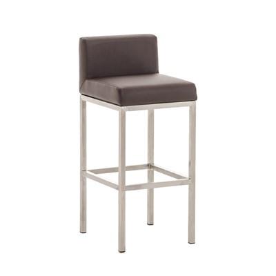 Taburete para Bar LUCIUS A, máxima calidad, estructura en acero, asiento 76cm, en piel marrón