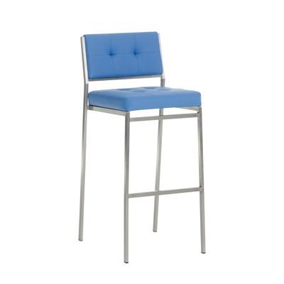 Taburete de Bar o Cocina ELENA, estructura en acero inoxidable, asiento acolchado en piel azul