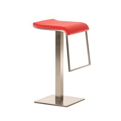 Taburete de Bar LAMA 78, estructura en acero, diseño ergonómico, en piel color rojo