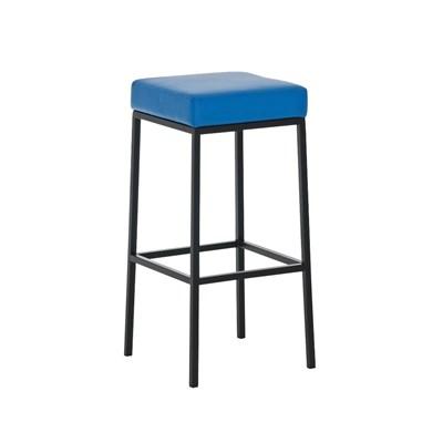Taburete para Barra o Bar CANADA 85cm, Asiento en Piel Azul y Estructura Metálica en Negro