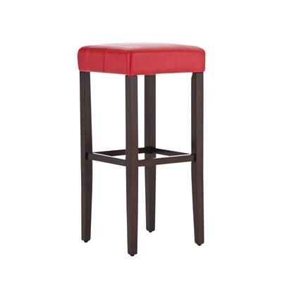 Taburete de Madera diseño LOLA, altura asiento 80cm en madera marrón y piel color rojo