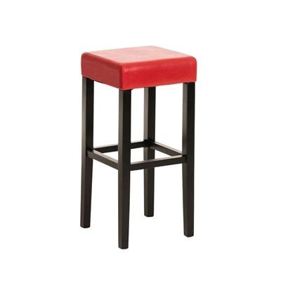 Taburete de Madera diseño LOLA, altura asiento 80cm en madera negra y piel color rojo