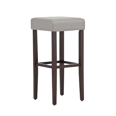 Taburete de Madera diseño LOLA, altura asiento 80cm en madera marrón y piel color gris