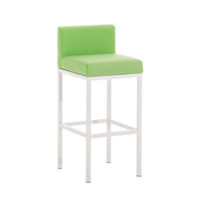 Taburete para Bar LUCIUS D, estructura metálica en blanco mate, altura asiento 76cm, en piel verde