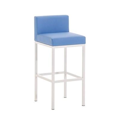 Taburete para Bar LUCIUS D, estructura metálica en blanco mate, altura asiento 76cm, en piel azul