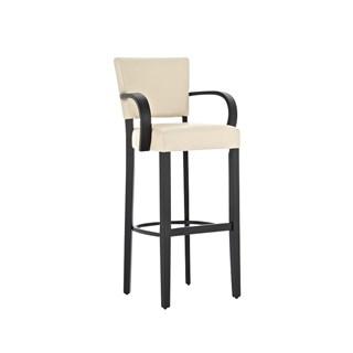 Taburete de madera MESSI con reposabrazos, asiento y respaldo acolchados en piel, color crema
