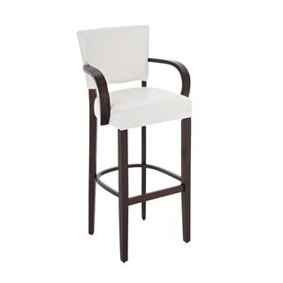 Taburete de madera MESSI con reposabrazos, asiento y respaldo acolchados en piel, color blanco