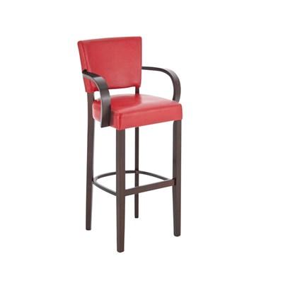 Taburete de madera MESSI con reposabrazos, asiento y respaldo acolchados en piel, color rojo