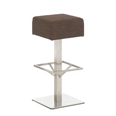 Taburete de Bar MARK 85 TELA, en acero inoxidable, altura asiento 85 cm, tapizado en tejido marrón