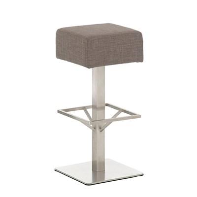 Taburete de Bar MARK 85 TELA, en acero inoxidable, altura asiento 85 cm, tapizado en tejido gris