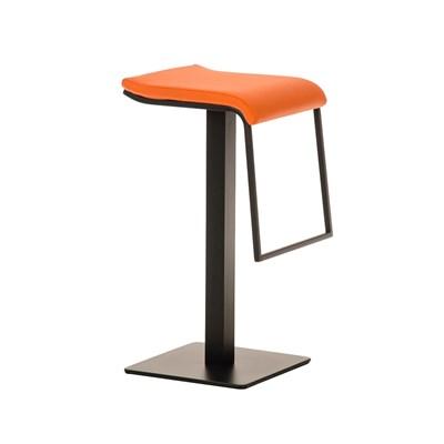 Taburete de Bar LAMA 78, estructura metálica en negro, diseño ergonómico, en piel color naranja