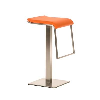 Taburete de Bar LAMA 85, estructura en acero, diseño ergonómico, en piel color naranja