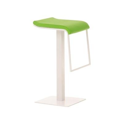Taburete de Bar LAMA 78, estructura metálica en blanco, diseño ergonómico, en piel color verde