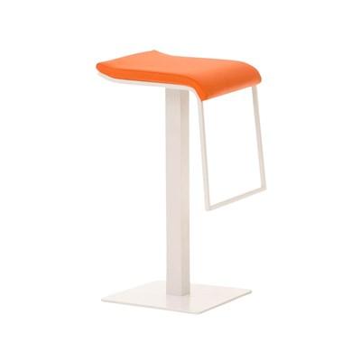 Taburete de Bar LAMA 78, estructura metálica en blanco, diseño ergonómico, en piel color naranja