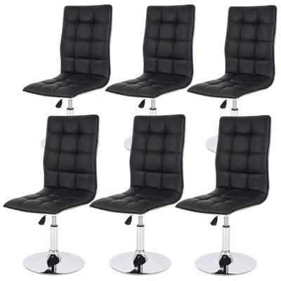 Lote 6 Sillas de Comedor o Cocina ROGER, En Piel Color Negro, Altura Regulable, Precioso diseño con Costuras
