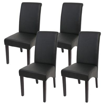 Lote 4 Sillas de Comedor TURIN, Gran estilo y calidad, tapizadas en Piel negra y patas madera oscuras