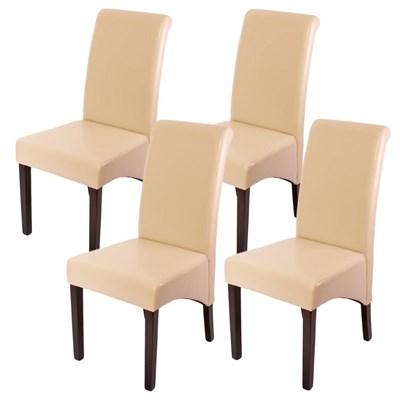 Lote 4 Sillas de Comedor TURIN, Gran estilo y calidad, tapizadas en Piel Real crema y patas madera oscuras