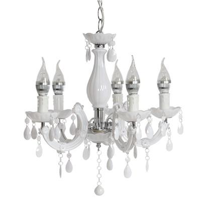 Lámpara de Araña ATENEA, 5 Puntos de Luz, Vidrio Acrílico Blanco, Bombillas LED Incluidas
