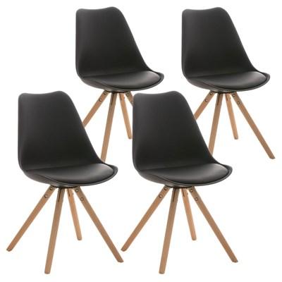 Lote 4 Sillas TAYLOR, Color Negro, Patas de Madera Claras, Asiento en Piel, Diseño Exclusivo