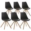 Lote 6 Sillas TAYLOR, Color Negro, Patas de Madera Claras, Asiento en Piel, Diseño Exclusivo
