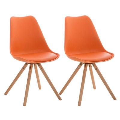 Lote 2 Sillas TAYLOR, Color Naranja, Patas de Madera Claras, Asiento en Piel, Diseño Exclusivo