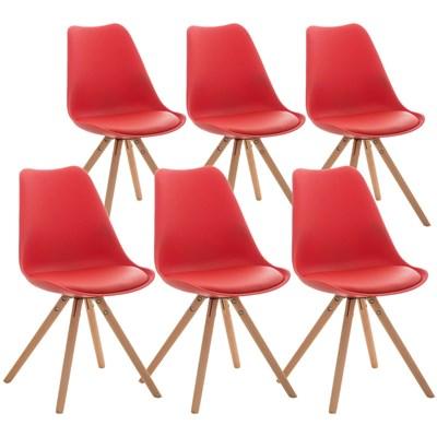 Lote 6 Sillas TAYLOR, Color Rojo, Patas de Madera Claras, Asiento en Piel, Diseño Exclusivo