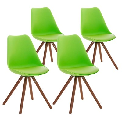 Lote 4 Sillas TAYLOR, Color Verde, Patas de Madera Oscuras, Asiento en Piel, Diseño Exclusivo