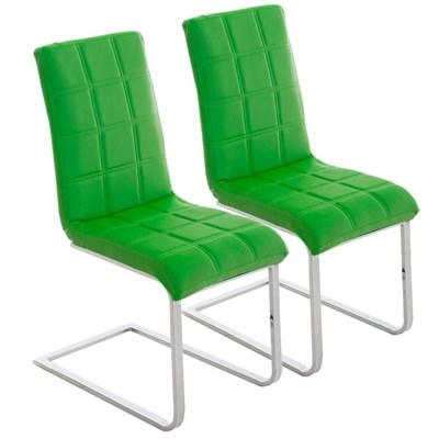 Lote 2 Sillas de Comedor o Cocina BIELSA, exclusivo diseño en costuras, en piel color verde
