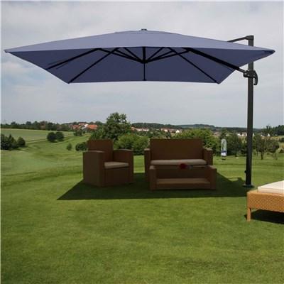 Sombrilla / Parasol IDRA, de 3 x 3 metros, Azul, Ajustable, Cruz de suelo Incluida