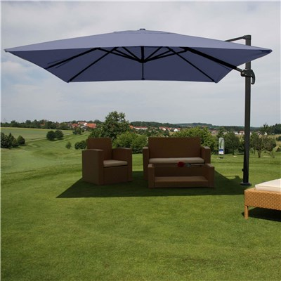 Parasol Sombrilla GIRATORIA IDRA, de 3 x 3 metros, Azul, Ajustable, Cruz de suelo Incluida