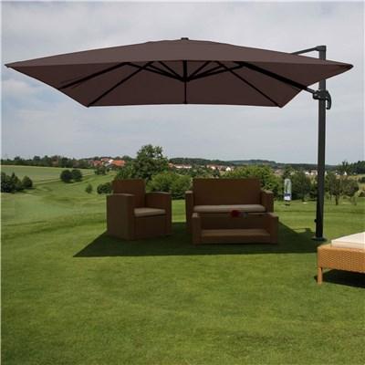 Sombrilla / Parasol IDRA, de 3 x 3 metros, Marrón, Ajustable, Cruz de suelo Incluida