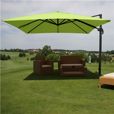 Parasol Sombrilla GIRATORIA IDRA, de 3 x 3 metros, Verde, Ajustable, Cruz de suelo Incluida