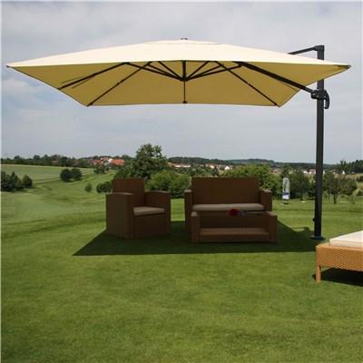 Parasol Sombrilla GIRATORIA IDRA, de 3 x 3 metros, color Crema, Ajustable, Cruz de suelo Incluida