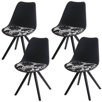 Lote 4 Sillas de Diseño CAROL, en Negro y Patas Oscuras, Asiento Acolchado