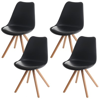 Lote 4 Sillas de Diseño CAROL, en Negro y Patas Claras, Asiento Acolchado