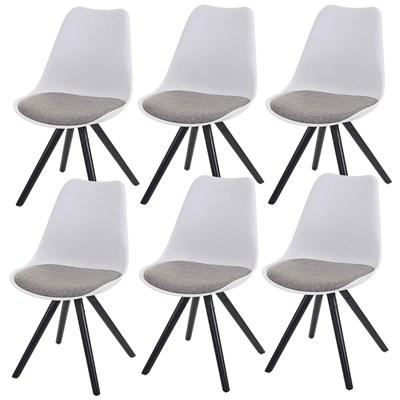 Lote 6 Sillas de Diseño CAROL, en Blanco y Patas Oscuras, Asiento Acolchado