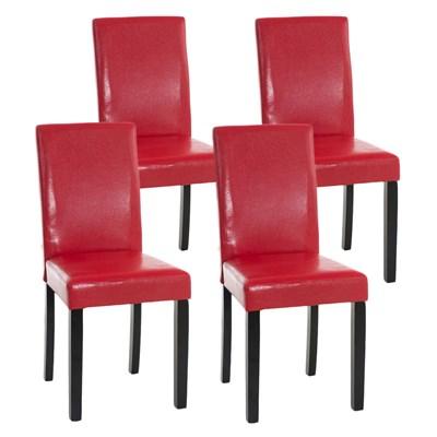 Lote 4 Sillas de Comedor CAPRI, Piel Roja y Patas Oscuras, Muy Cómodas y Resistentes