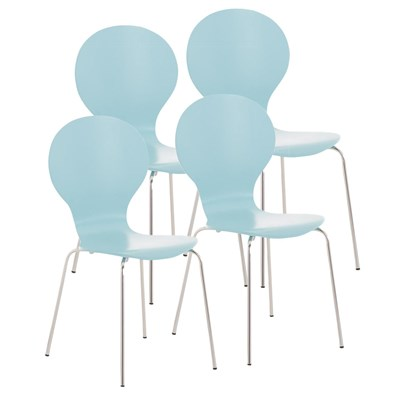 Lote 4 Sillas de Cocina o Comedor CARLO, ergonómicas, en madera y metal, modelo apilable, en Azul