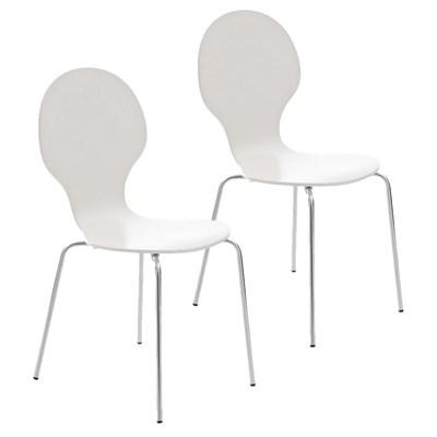 Lote 2 Sillas de Cocina o Comedor CARLO, ergonómicas, en madera y metal, modelo apilable, en Blanco